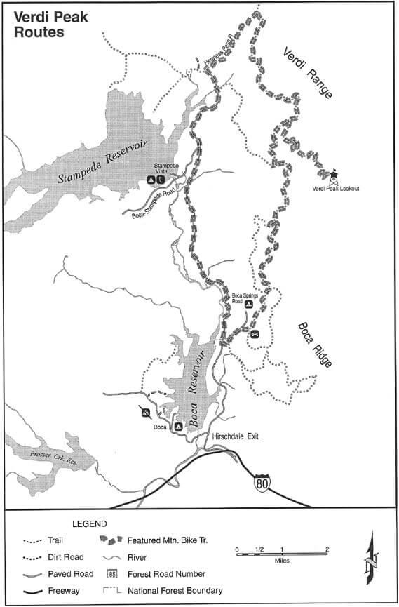 Verdi Peak Trail Mountain Biking Map