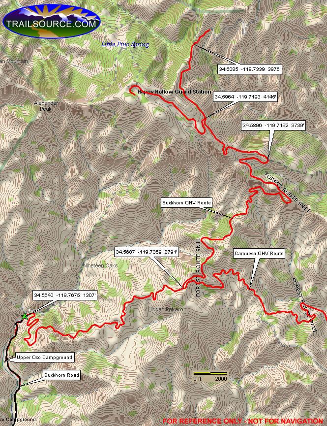 Little Pine Mountain / Happy Hollow Mountain Biking Map