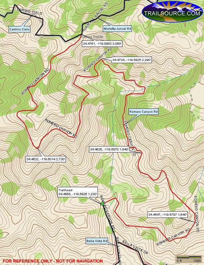 Romero Canyon Trail Mountain Biking Map