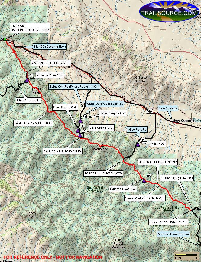 Sierra Madre Ridge Road Mountain Biking Map
