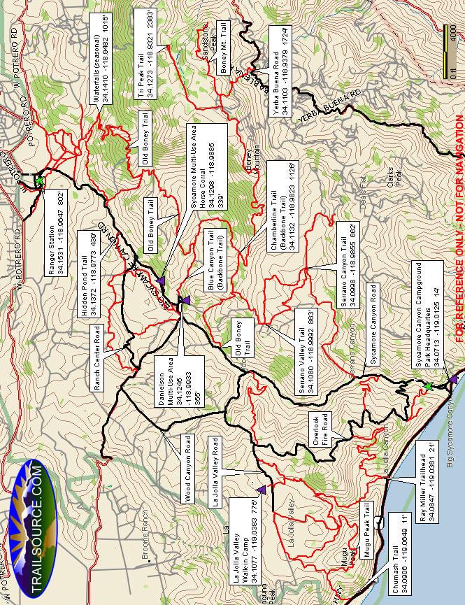 Big Sycamore Canyon Loop Mountain Biking Map