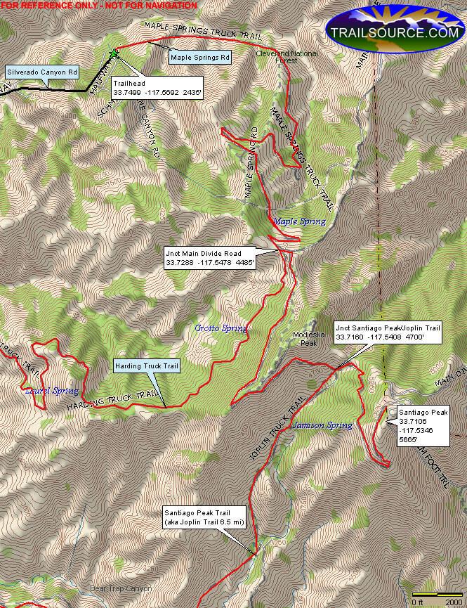 Santiago Peak - Maple Springs Mountain Biking Map