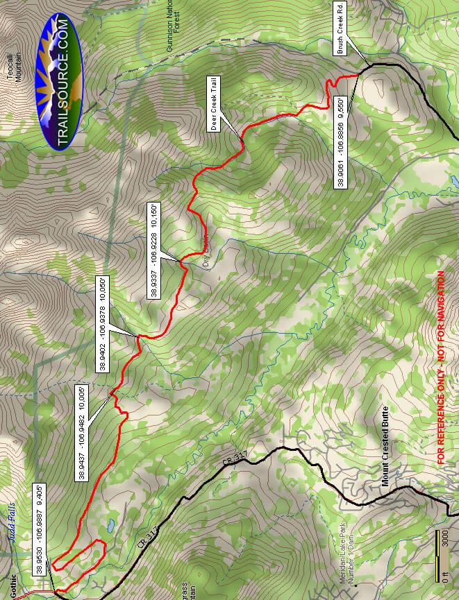 Deer Creek Trail Mountain Biking Map