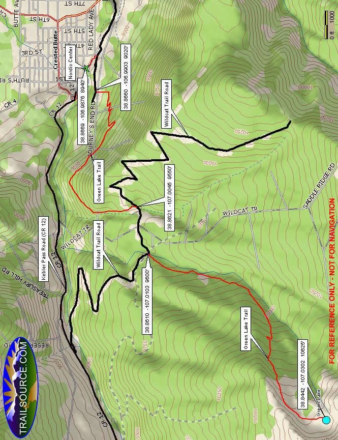 Green Lake Trail Mountain Biking Map