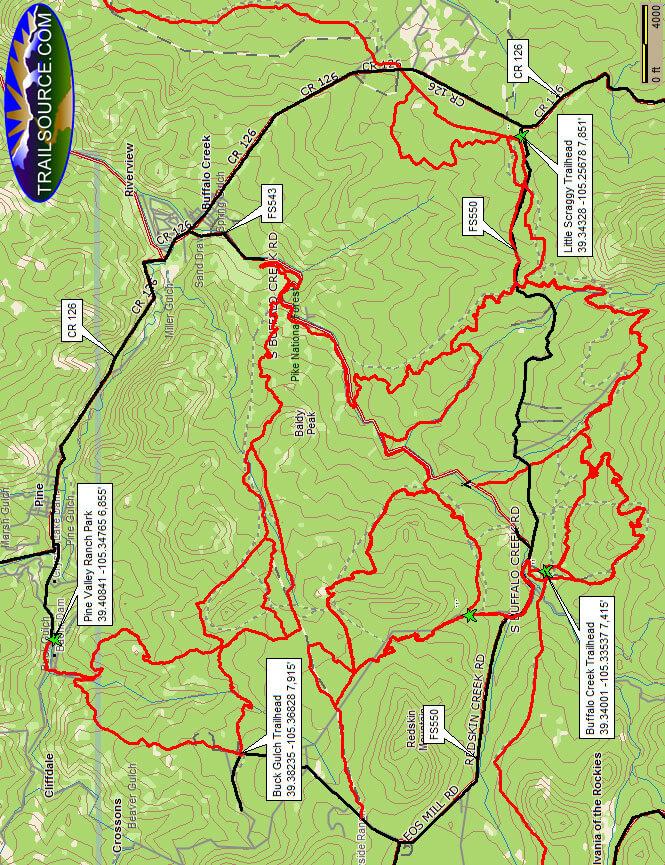 Buffalo Creek Mountain Bike Area Mountain Biking Map