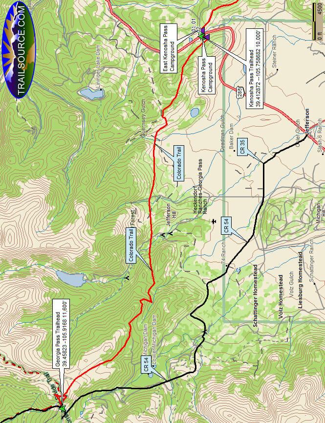 Kenosha Pass - Georgia Pass Trail Mountain Biking Map