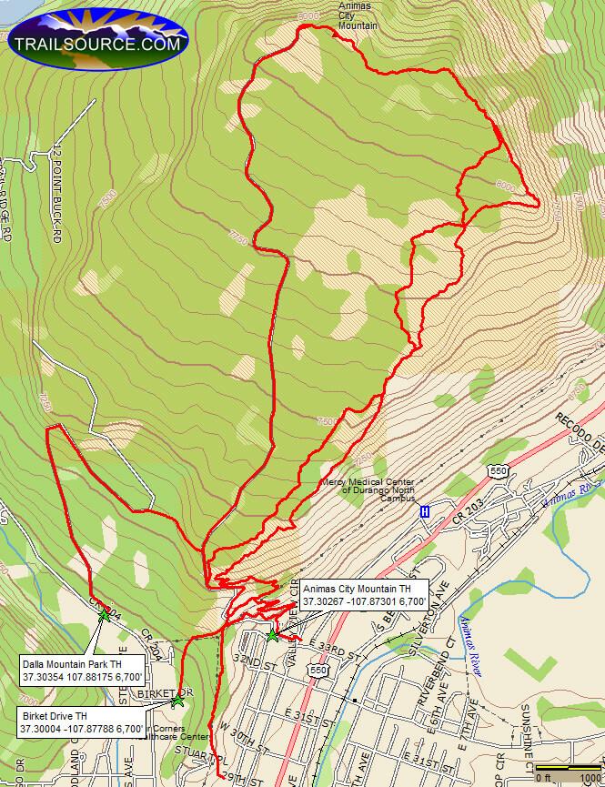 Animas City Mountain Trail Mountain Biking Map