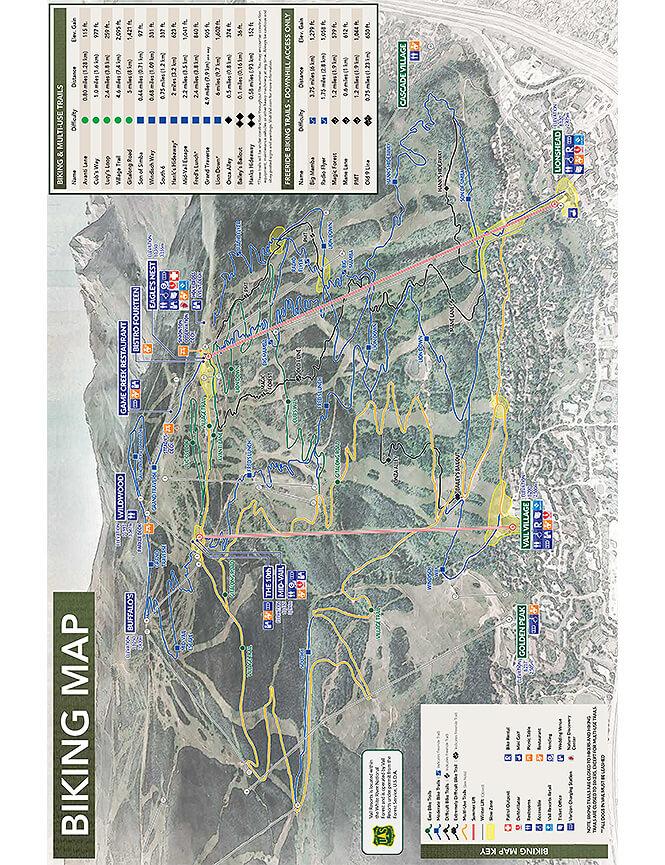 Vail Mountain Mountain Biking Map