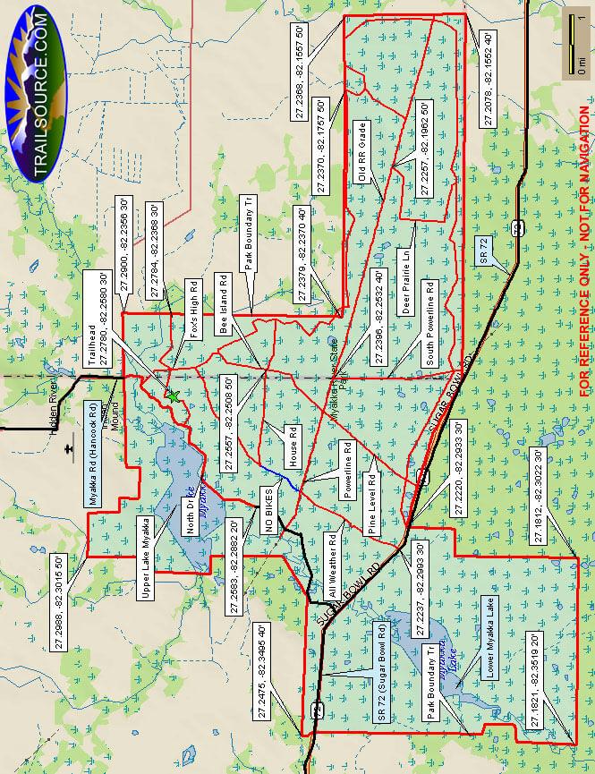 Myakka River State Park Mountain Biking Map