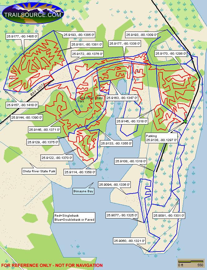 Oleta River State Park Mountain Biking Map