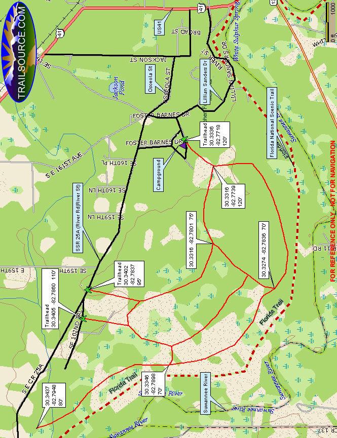 Stephan Foster State Park Mountain Biking Map
