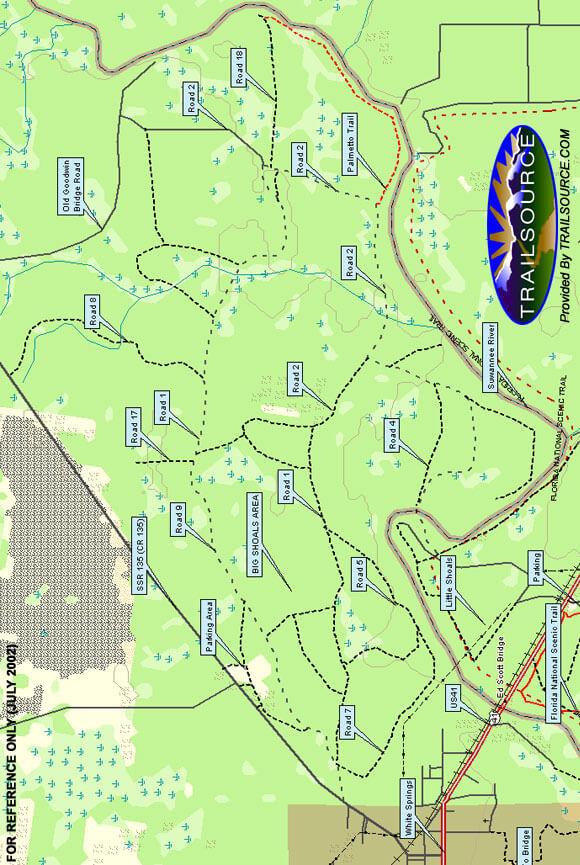 Big Shoals Trail Mountain Biking Map