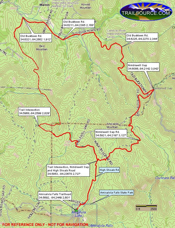 Amicalola Falls Trail Mountain Biking Map
