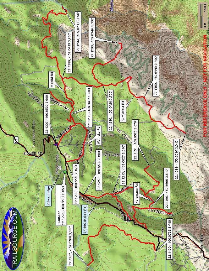 Waimea Canyon Mountain Biking Map