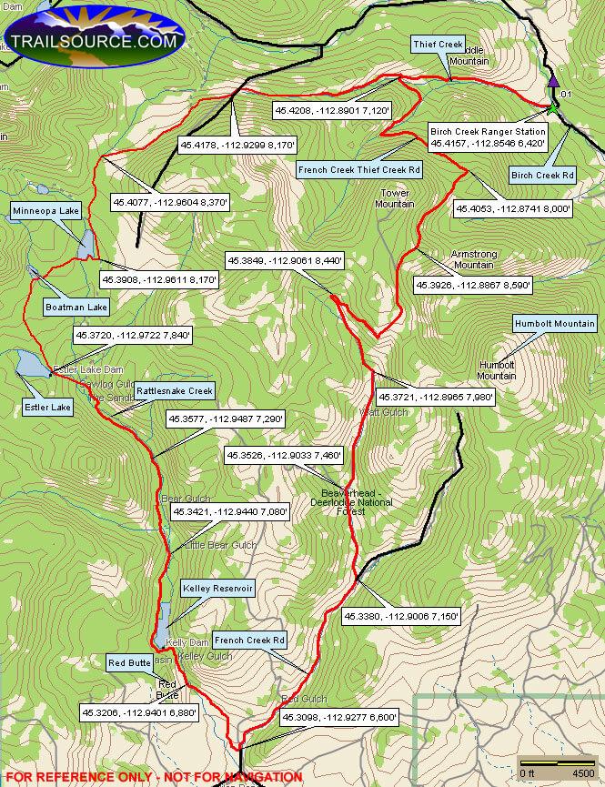 Birch Creek Trail Mountain Biking Map
