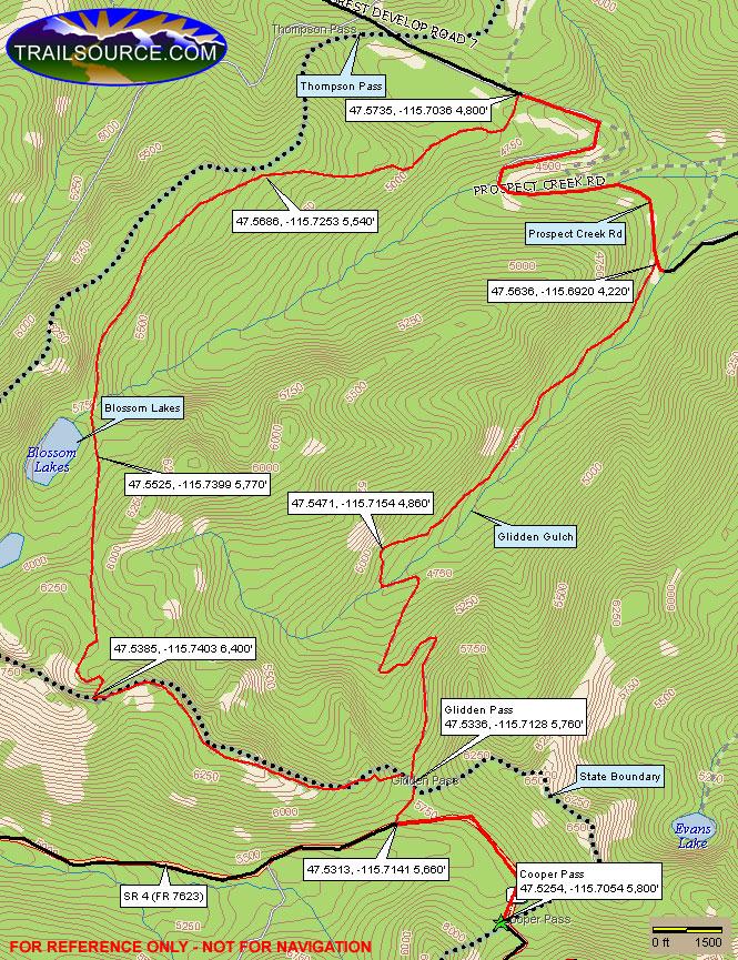 Glidden Creek Trail Mountain Biking Map