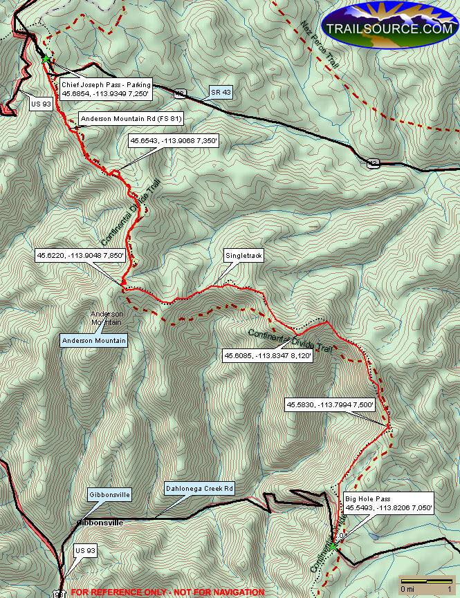CDT - Chief Joseph Pass to Big Hole Pass Mountain Biking Map