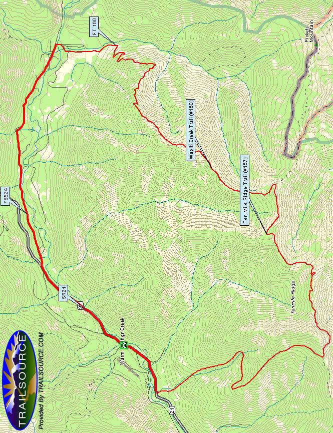 Ten Mile Ridge Trail Mountain Biking Map