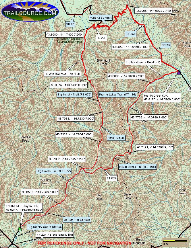 Big Smoky Creek Trail Mountain Biking Map