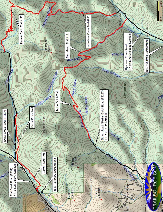 Corral Creek Loop Mountain Biking Map