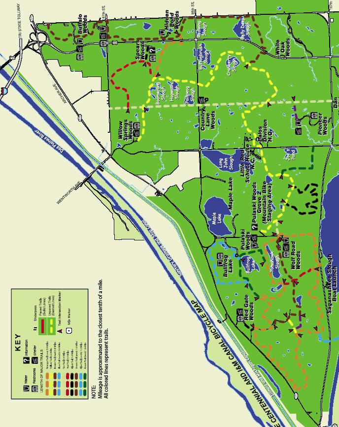 Palos Hills Forest Preserve Mountain Biking Map
