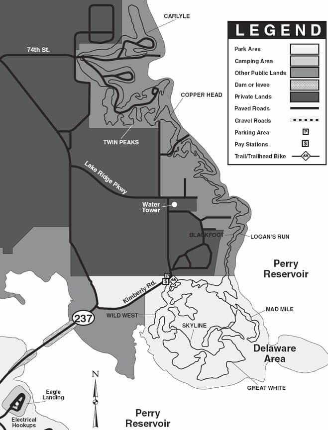 Perry Lake Trail Mountain Biking Map