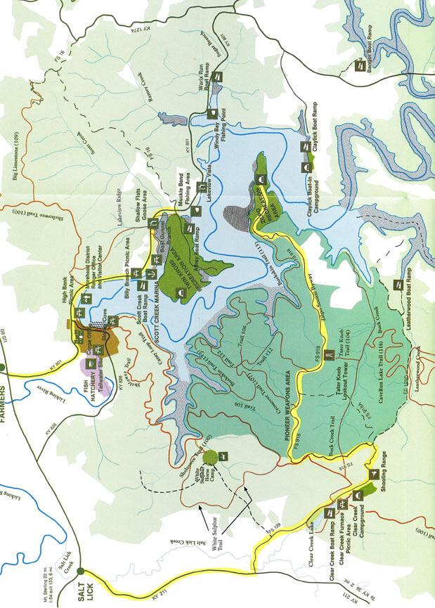 Cave Run Lake Mountain Biking Map