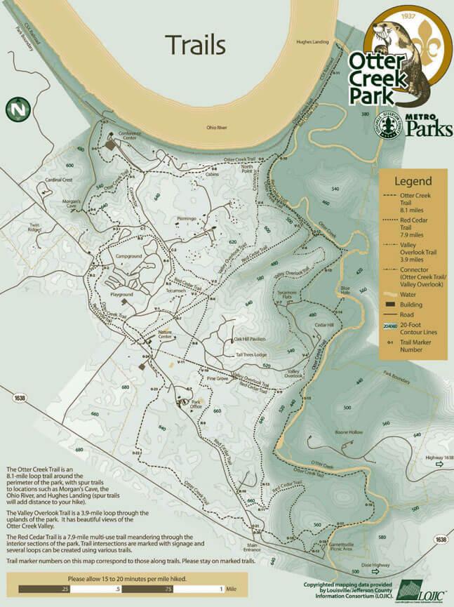 Otter Creek Park Mountain Biking Map