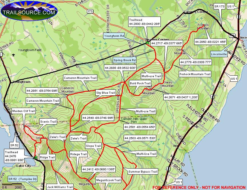 Camden Hills State Park Mountain Biking Map