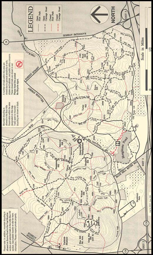 Blue Hills Reservation Mountain Biking Map