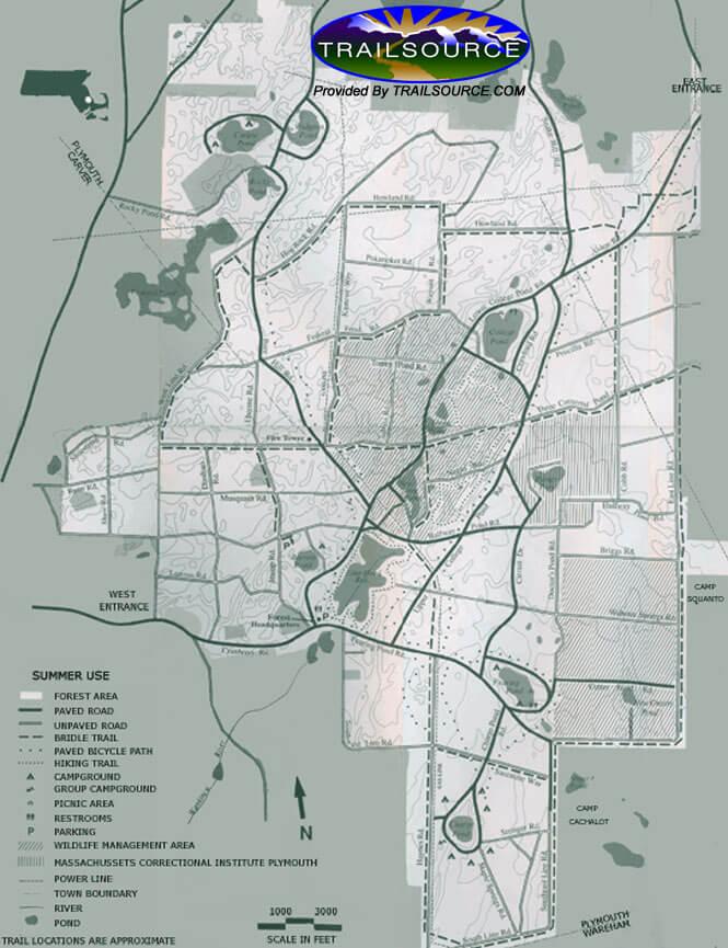 Myles Standish State Forest Mountain Biking Map