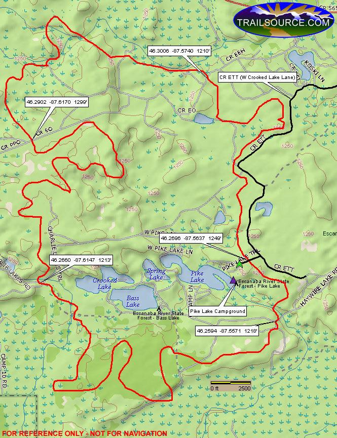 Bass Lake Trail Mountain Biking Map