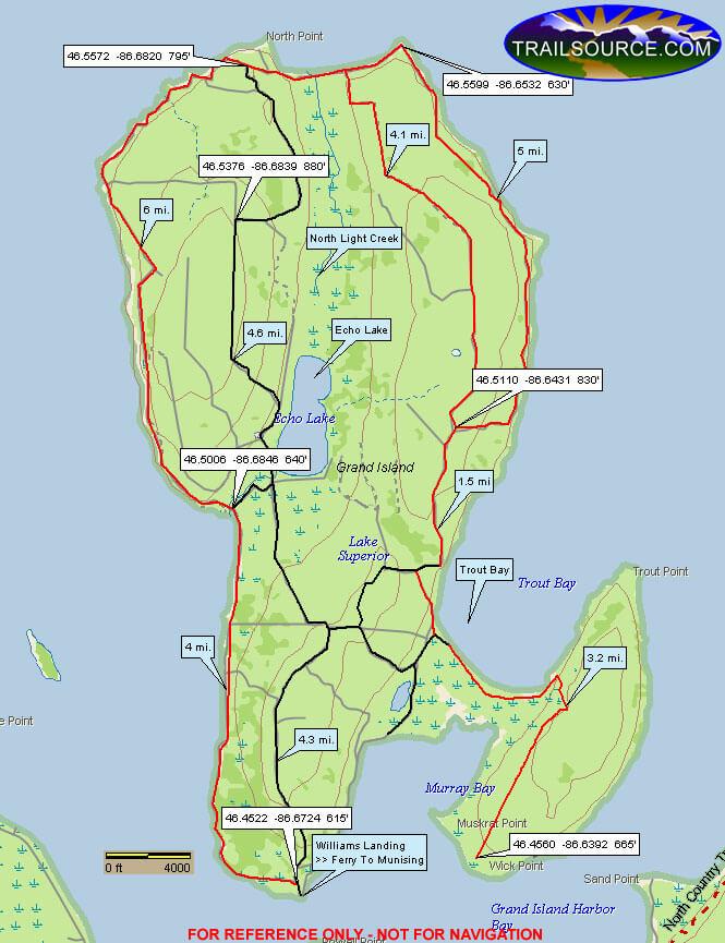 Grand Island Mountain Biking Map
