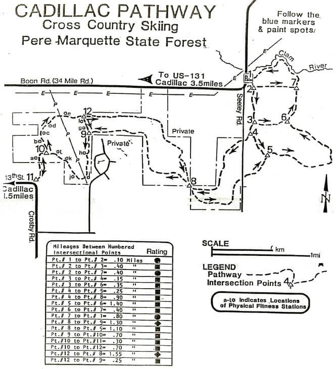 Cadillac Pathway Mountain Biking Map
