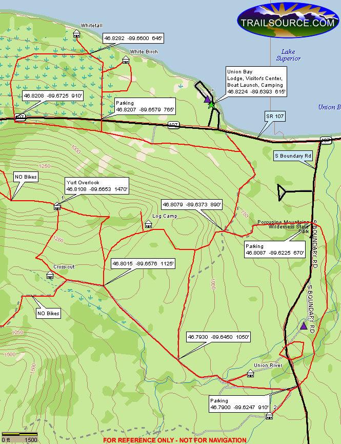Porcupine Mountain State Park Mountain Biking Map
