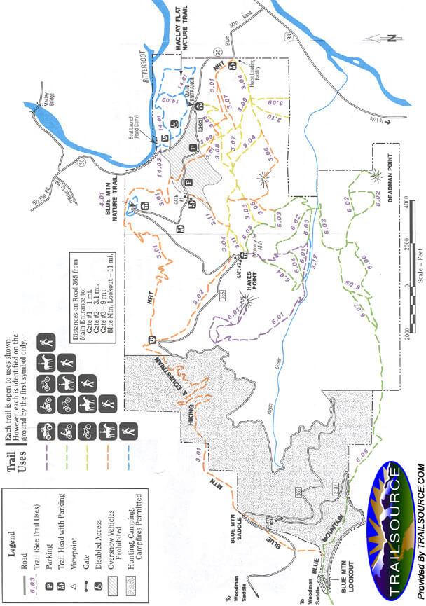 Blue Mountain Recreation Area Mountain Biking Map