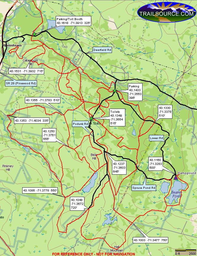 Bear Brook State Park Mountain Biking Map