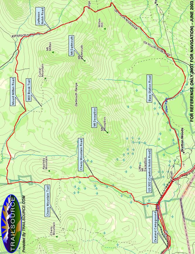 Cherry Mountain Loop Mountain Biking Map