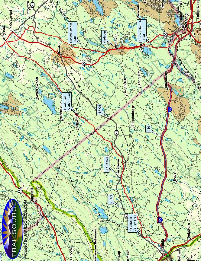 Paulinskill Valley Trail Mountain Biking Map