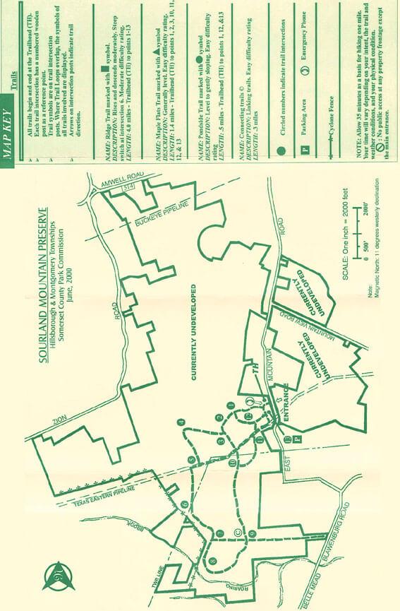 Sourland Mountain Preserve Mountain Biking Map