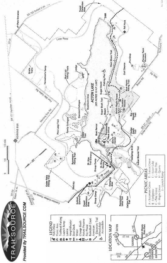 Hueston Woods State Park Mountain Biking Map