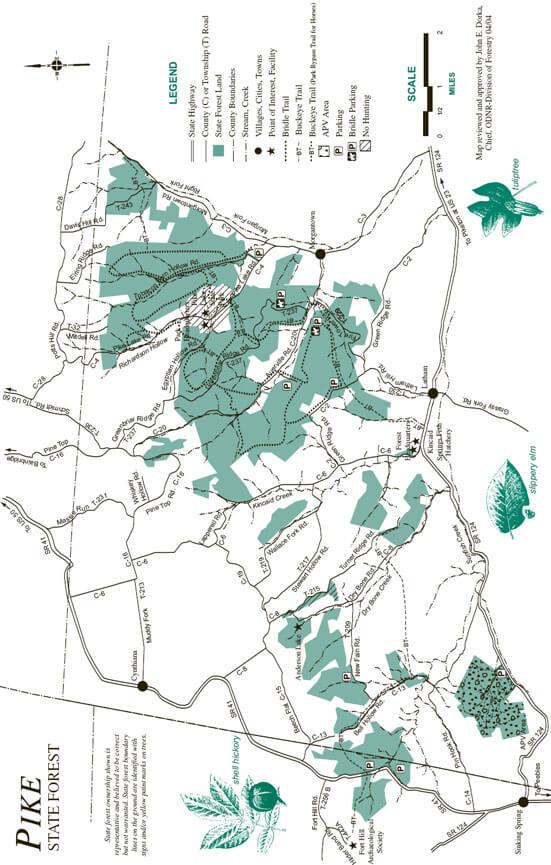 Pike State Forest Mountain Biking Map
