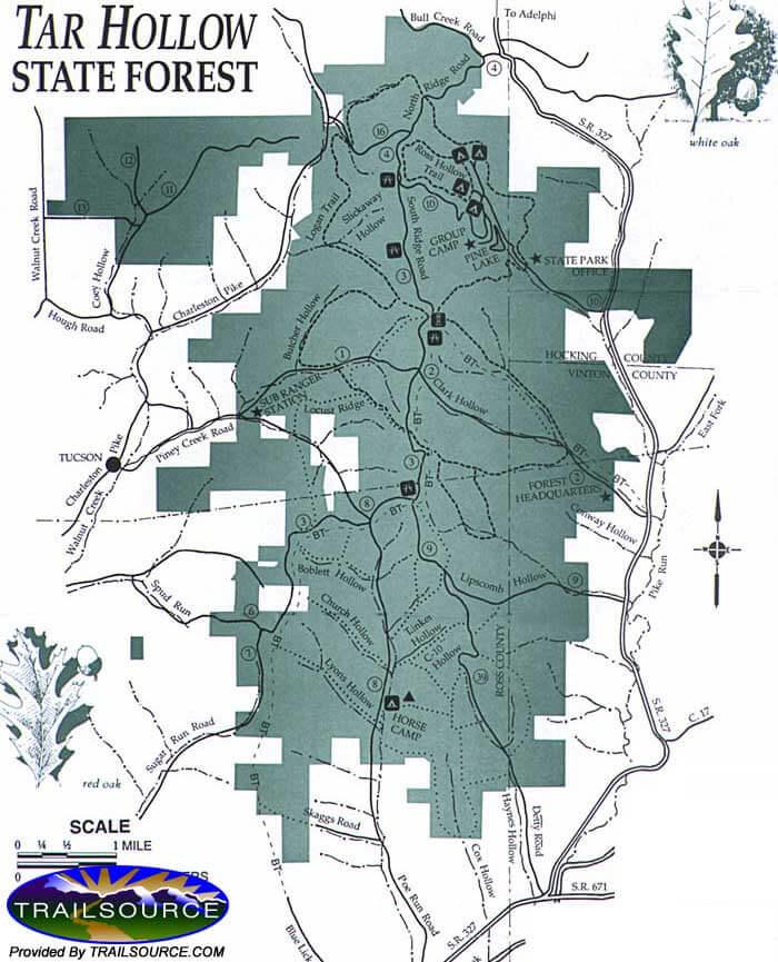 Tar Hollow State Forest Mountain Biking Map