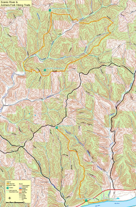 Archers Fork Trails Mountain Biking Map