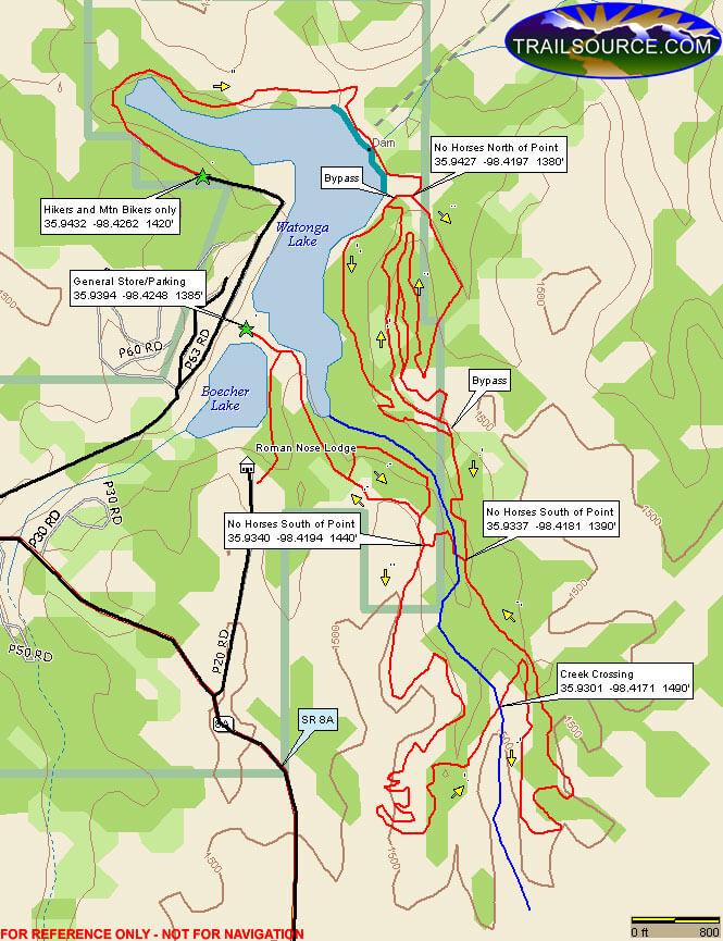 Roman Nose State Park Mountain Biking Map