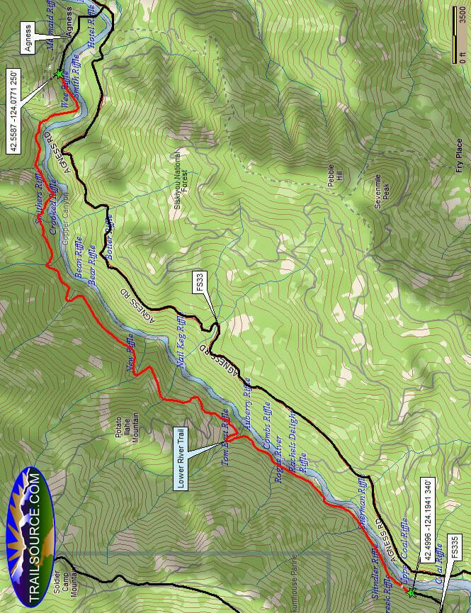 Lower Rogue River Trail Mountain Biking Map