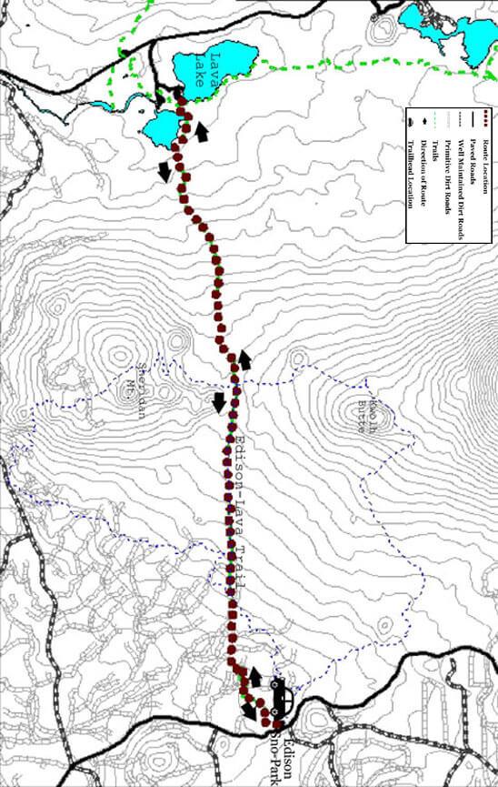 Edison-Lava Trail Mountain Biking Map