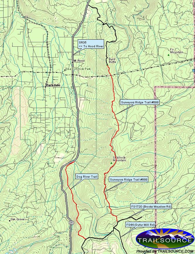 Dog River Trail Mountain Biking Map