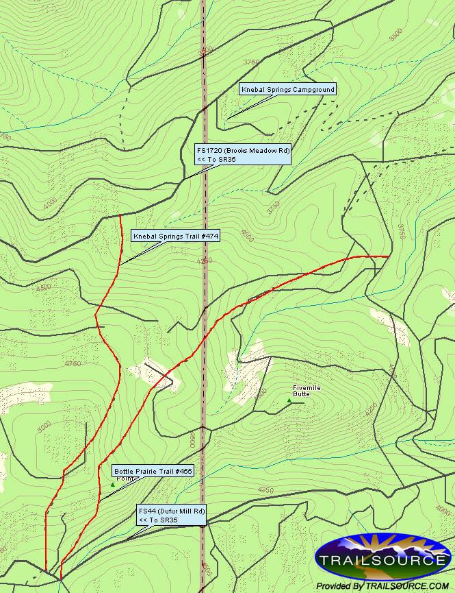 Knebal Spring / Bottle Praire Trail Mountain Biking Map