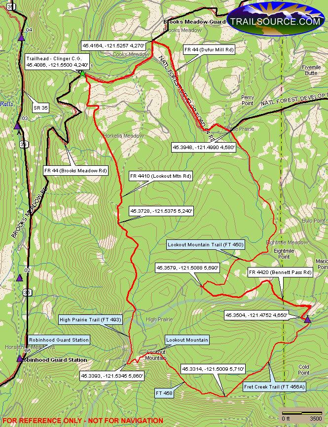 Lookout Mountain / High Praire Loop Trail Mountain Biking Map